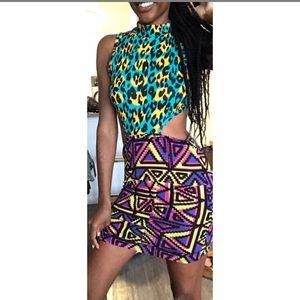 S Nasty Gal Neon Tribal Print Dress